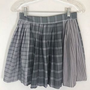 Mixed Plaid Pleated Mini Skirt Grey Pastel